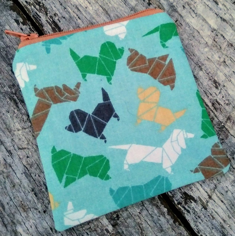 Origami dogs mini zipper pouch. Little change purse. Puppies image 0