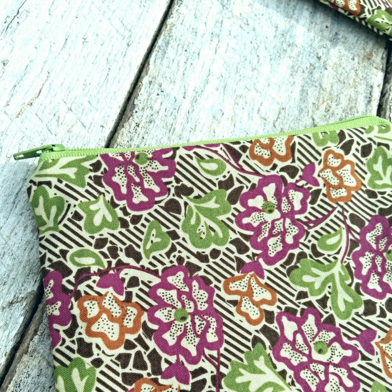 Brown stripes and floral Rectangular Zipper Pouch Makeup Bag image 0