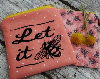 Let it bee zipper pouch. Gardener gift. Apiarist. Coral small purse. Polka dots and bumble bees. Gardening pouch set.