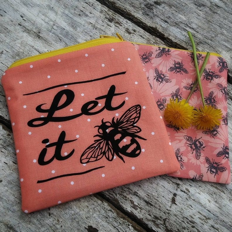 Let it bee zipper pouch. Gardener gift. Apiarist. Coral small image 0