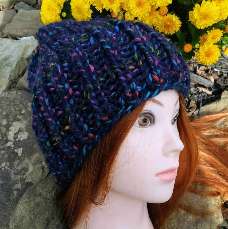 Bulky wool knit hat. Yukon bulky beanie. Multi color thick image 0