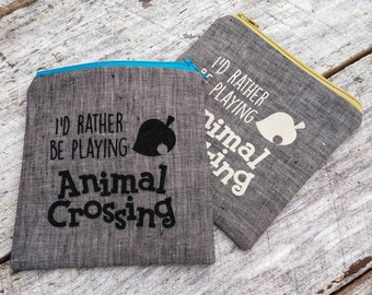 I'd rather be playing Animal Crossing pouch. Small zipper bag. Cute gift idea. Coin purse