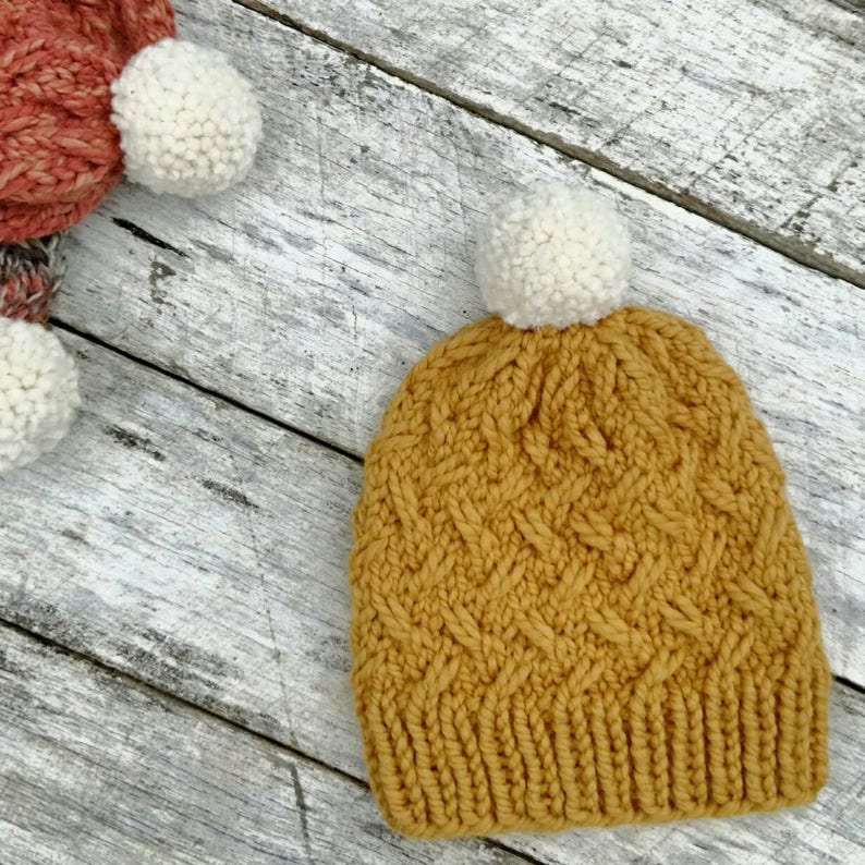 Bulky wool knit hat. Laurel beanie. Mustard thick yarn. image 0