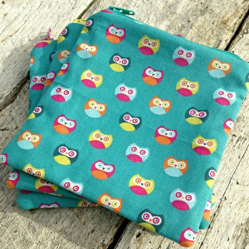 Turquoise Square Zipper Pouch with brightly coloured owls image 0