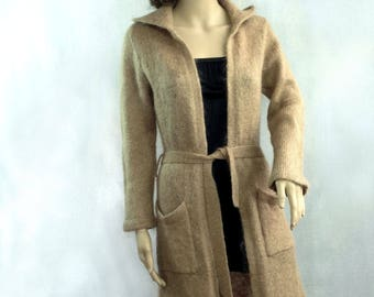 Hand knitted cardigan beige women's clothing coat mohair  hooded cardigan warm sweater poncho knit coat loose knit cardigan