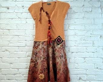 Upcycled Clothing Dress Eco Clothing Artsy Babydoll Dress Shabby Boho Clothing Cottage Chic Refashioned Patchwork Dress Altered Couture