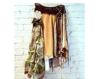 Boho skirt asymmetrical hippie skirt altered couture repurposed clothing eco friendly festival clothing  gypsy skirt