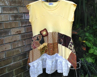 Plus Size Artsy Upcycled Clothing Plus Size Tunic Lagenlook Clothing Refashion Loose Fit Summer Dress Altered Clothing Repurposed Bohemian