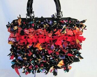 Hand made purse, boho bag, crochet purse, handbag, rag bag, shabby chic bag, fringed bag, purse, designer handbag