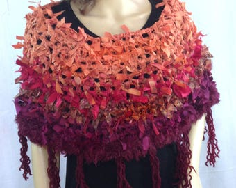 Boho clothing crochet  poncho caplet stole wrap shawl terracotta ragged clothing for women designer festival clothing