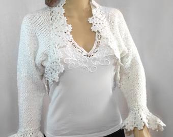 Warm winter shrug long sleeves hand knitted snow white shrug cape poncho wrap vest boho shrug loose knit bolero