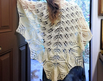 Ivory white shawl hand knit  boho lace Openwork crescent  wrap Knit lace scarf White hand knit shawl Bridal scarf girt for her
