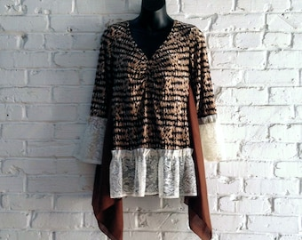 Boho lagenlook romantic tunic/ Upcycled clothing/ Altered couture/ baby doll tunic/ artsy dress/ refashioned clothing