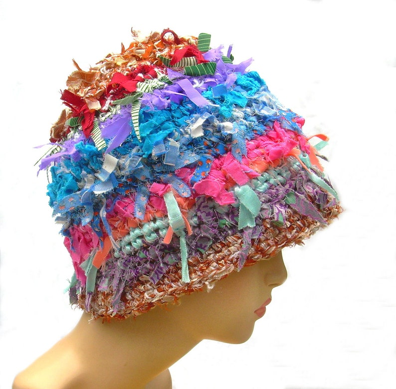 f6f7befc28c1c Unusual handmade crocheted hat cloche hat womens beanie rag