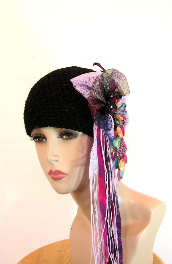 Unusual handmade womens hat beanie black hat statement hat  b2f5a76294