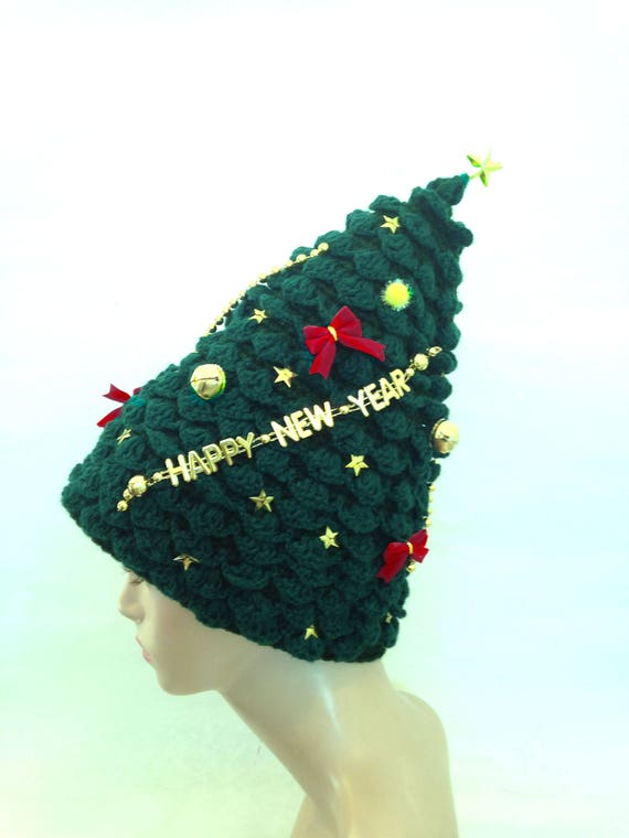 Christmas Tree Hat handknit creative hat green unusual womens  c099891752