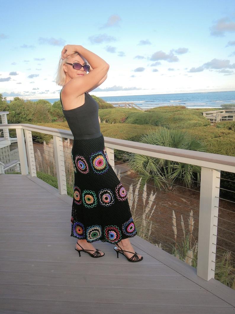 Long skirt crochet maxi skirt pink long skirt bohemian clothing festival clothing knitting gypsy flamenco boho clothing
