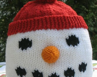 Snowman Hat PDF Knitting Pattern Children s Knitted Hat  d8358fca095
