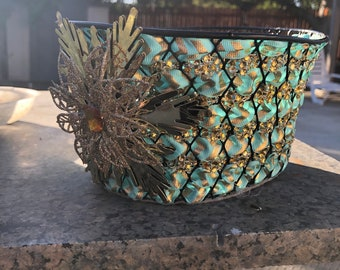 Teal decorated gift basket