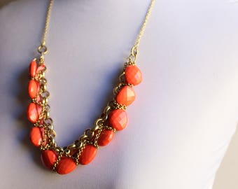 Chunky Coral Stone Necklace