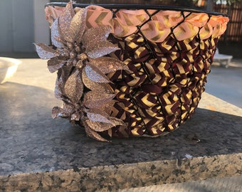 Rose gold decorated gift basket