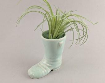 Vintage Planter Boot Ceramic Small Tiny Planter Succulent Air Plant Mint Green Blue