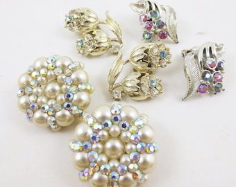 Vintage Earrings Lot 3 Pairs Clip on Cluster Rhinestone Mid Century 50s 60s
