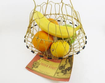 Vintage Wire Basket Collapsible Market Bag French Basket 50s Folding Mid Century Retro Kitchen
