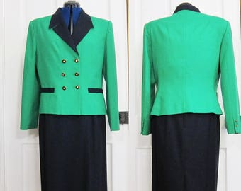 Vintage 80s Power Suit Kasper Size 14 XL Green Dark Blue Double Breasted Blazer and Skirt