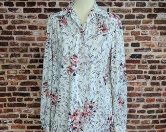 Vintage Floral Blouse Women's Size Medium Large Pink Roses Print Shirt 70s Polyester