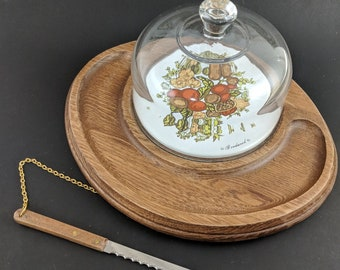 Vintage Wooden Cheese Tray with Glass Dome Platter 70s Serving Tray Snack Appetizer