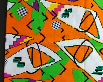 Vintage 80's Fabric Bright Orange Retro 8 Bit Sail Print Cotton 1 Yard