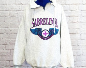 Vintage Sabreliner Sweatshirt 80s Private Jet Set Size Large L Graphic Aviation