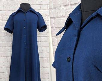 Vintage Shift Dress 60s 70s Size Medium Large Mod Blue Knit Button Front Short Sleeve