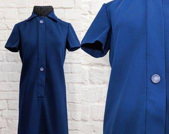 Vintage Shift Dress 60s 70s Size Medium Large R & K Mod Blue Knit Button Front Short Sleeve