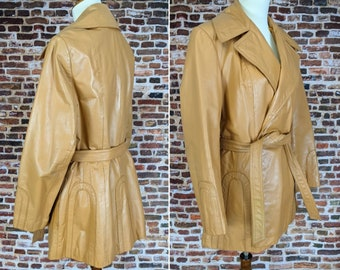Vintage 70s Leather Jacket - The Tannery by Montgomery Ward - Size Medium