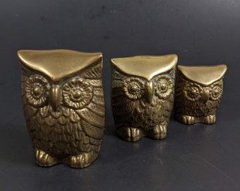 Vintage Brass Owl Figurines - Leonard Solid Brass Sticker - Graduated Height