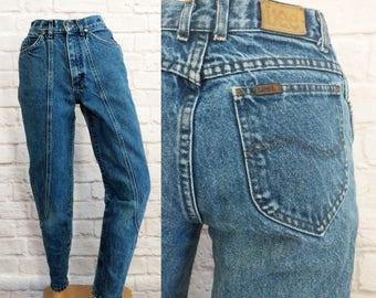 e2358107 Vintage Lee Jeans Junior's Size 25 Inch Waist Tapered Zip Leg High Waist  Denim 80s 90s Women's
