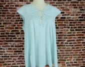 Vintage Night Shirt Women 39 s Medium Large Blue Lingerie 60 39 s 70 39 s Retro