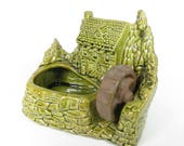 Vintage Shawnee Planter Succulent Planter Grist Mill House Green Glazed Ceramic Pottery Succulents USA 769 Mid Century