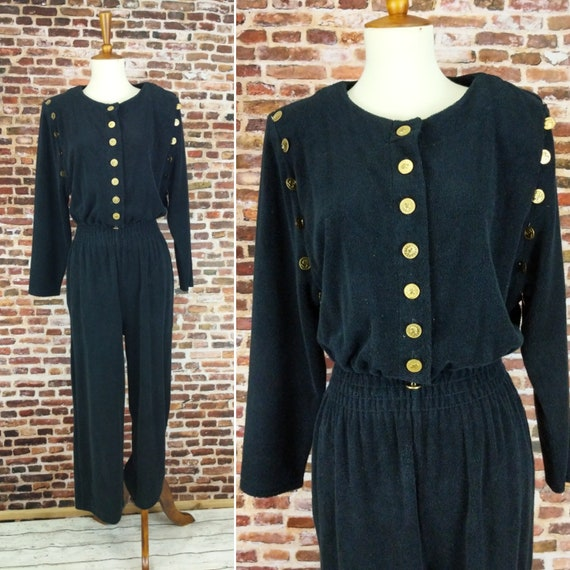 Vintage 80's Jumpsuit Black Terry Cloth Size Small