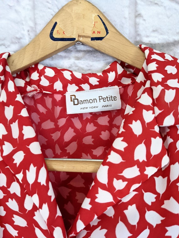 Red and White Blouson Dress - Simple Tulip Print … - image 10