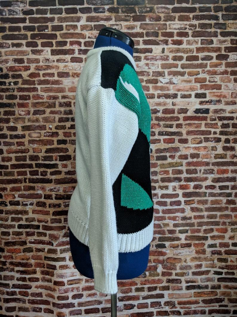 a2b19cbf Vintage Sparkle Sweater 80's Green Black White Retro Size | Etsy