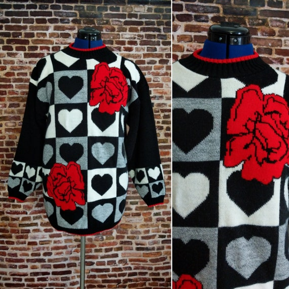 Vintage 80s Sweater Red Roses Black Hearts Retro Oversized Xl Etsy
