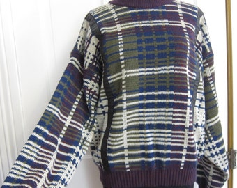 Vintage Men's 80's Sweater Size Large Urban Works Leather Acrylic Abstract Stripes Blue Green Purple