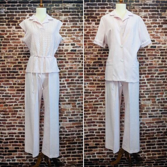 Vintage 70's Outfit Pink Pantsuit Size Medium Larg