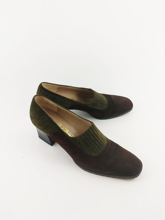 Vintage Ferragamo Pumps Suede 70's Women's Shoes S
