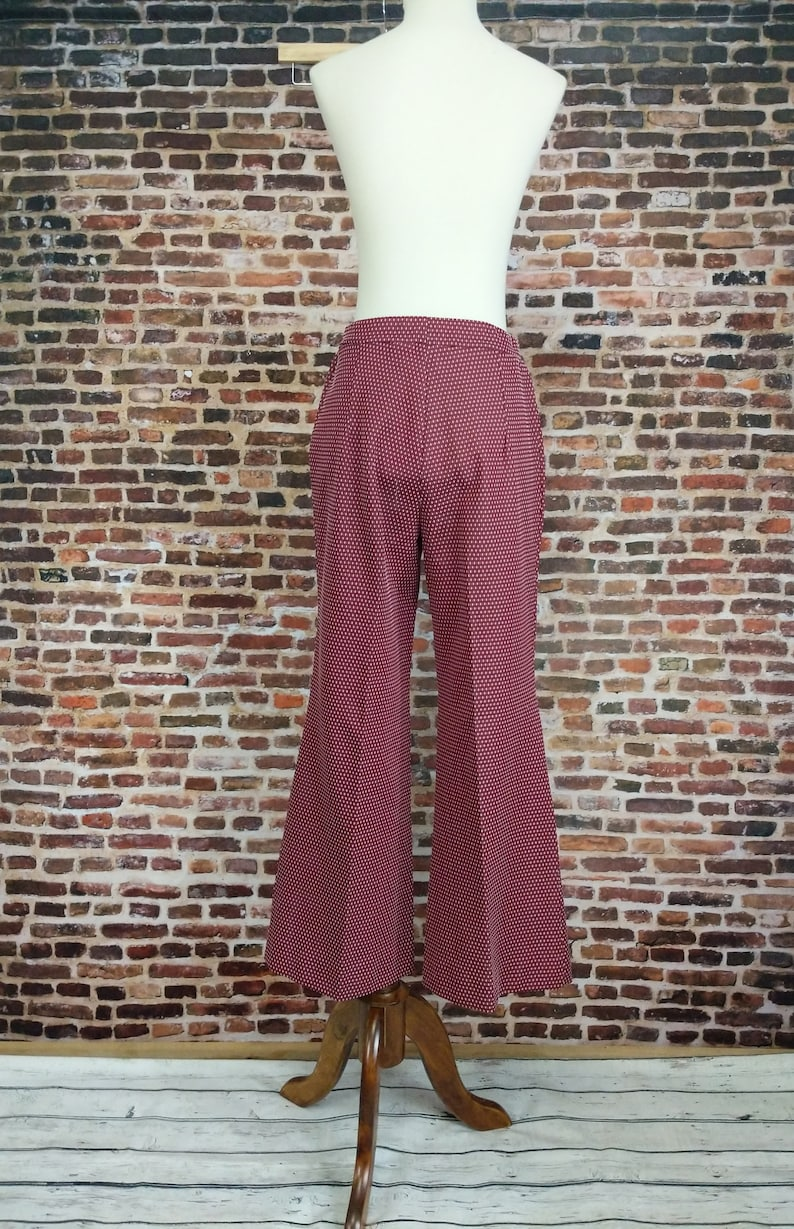 Vintage Red Bell Bottoms Pants Polka Dot Patterned Knit Women/'s Size XS Small Bellbottoms Flares
