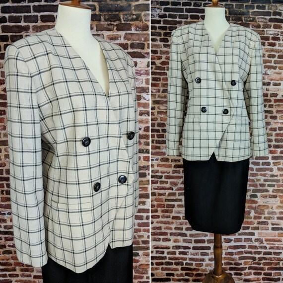 Vintage 80's Suit Beige Black Checkered Jacket Sho