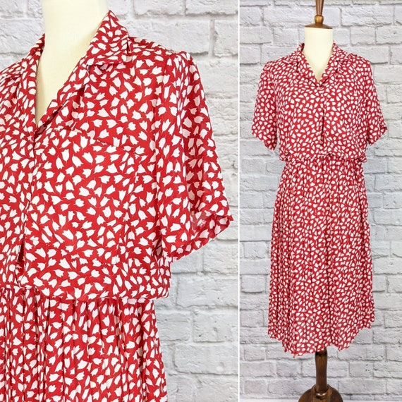 Red and White Blouson Dress - Simple Tulip Print … - image 1